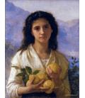 William Adolphe Bouguereau - Ragazza che tiene i limoni. Stampa su tela