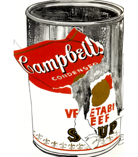 Andy Warhol - Big Torn Campbell'soup Can American Painting. Stampa su tela