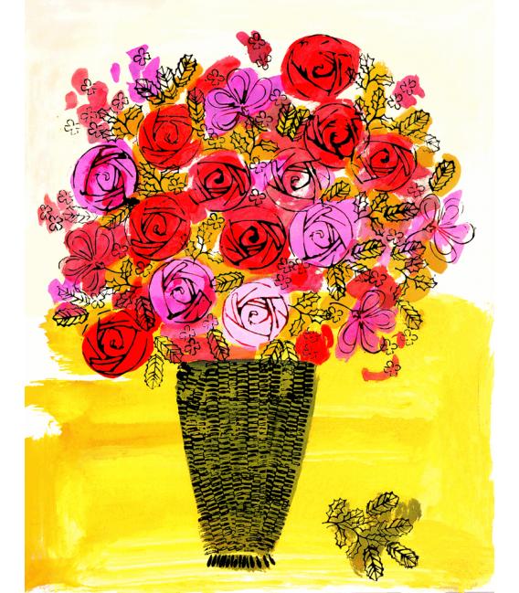 Andy Warhol - Basket of Flowers. Stampa su tela