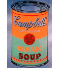 Andy Warhol - Campbell's Soup Can Tomato Orange. Printing on canvas