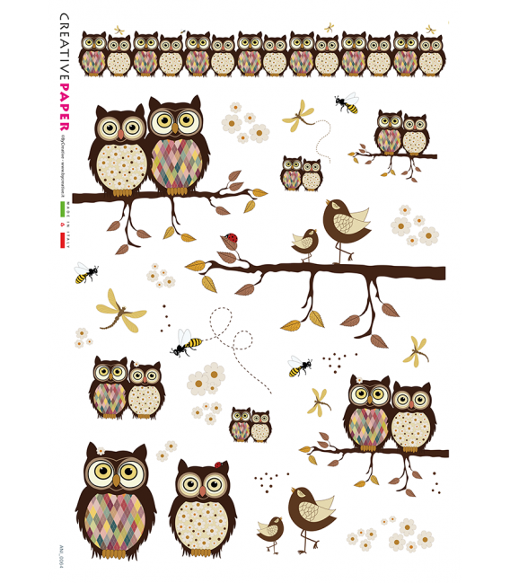 Decoupage rice paper: Owls