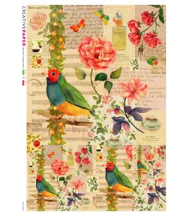 Carta di riso Decoupage: Uccelli, Rose e Poesie