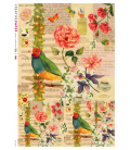 Decoupage rice paper: Birds, roses and poems