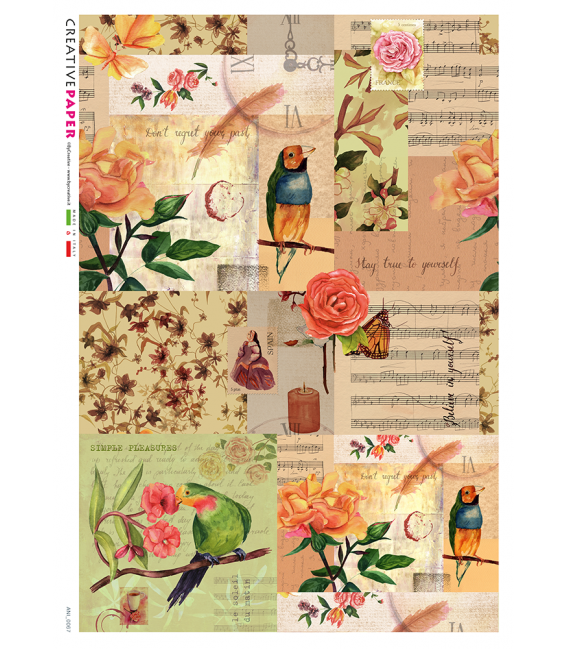 Decoupage rice paper: Birds, roses and music
