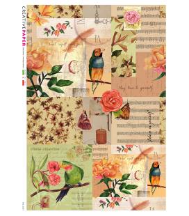 Carta di riso Decoupage: Uccelli, Rose e Musica