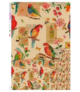 Carta di riso Decoupage: Uccelli e Fiori