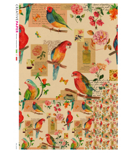 Decoupage rice paper: Birds and Flowers