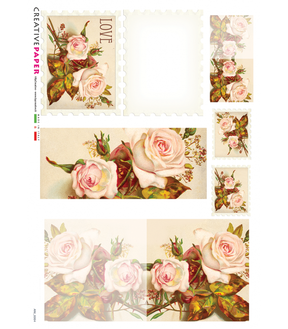 Decoupage rice paper: Postal Cards with Roses