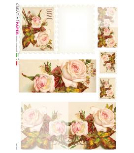 Carta di riso Decoupage: Cartoline Postali con Rose