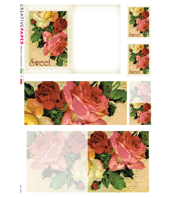 Decoupage rice paper: Postal Cards with Red and Yellow Roses