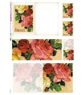 Carta di riso Decoupage: Cartoline Postali con Rose rosse e gialle