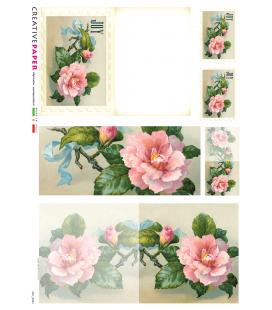 Carta di riso Decoupage: Cartoline Postali con Rosa e fiocco azzurro