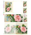 Decoupage rice paper: Postal Cards with Rose with blue ribbon