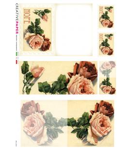 Decoupage rice paper: Postal Cards Hope Rose