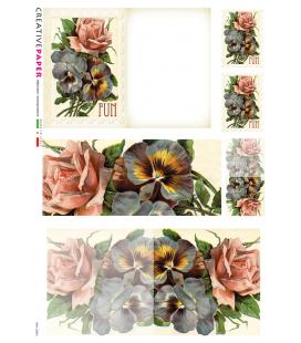 Carta di riso Decoupage: Cartoline Postali Rose e Viole