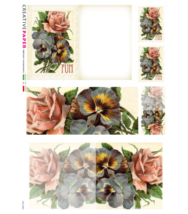 Decoupage rice paper: Postal Cards Roses and Violets