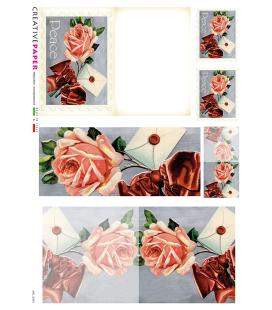 Carta di riso Decoupage: Cartoline Postali Rose con fiocco rosso