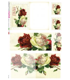 Carta di riso Decoupage: Cartoline Postali Rose rosse e bianche