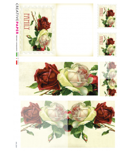 Decoupage rice paper: Postal Cards Red and White Roses