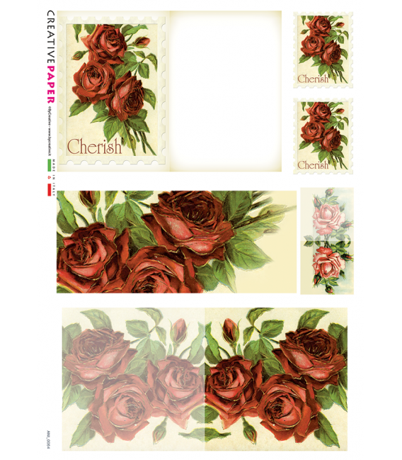 Decoupage rice paper: Postal Cards Red Roses for you