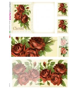 Carta di riso Decoupage: Cartoline Postali Rose Rosse per te