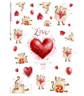 Carta di riso Decoupage: Gatto innamorato