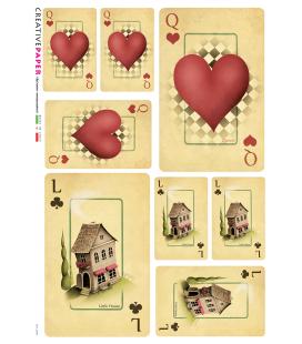 Carta di riso Decoupage: Carte da gioco con cuori