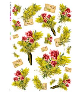 Carta di riso Decoupage: Mazzo di rose rosse