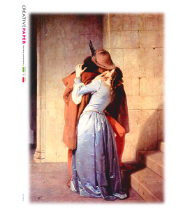 Decoupage rice paper: The kiss of Francesco Hayez