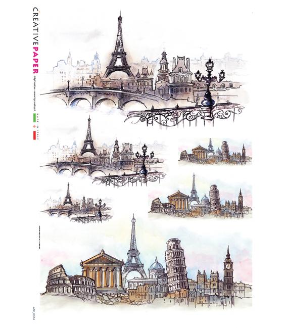 Decoupage rice paper: Tour Eiffel in Europe