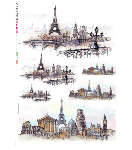 Carta di riso Decoupage: Tour Eiffel in Europa