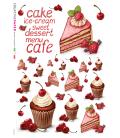 Decoupage rice paper: Cream and strawberries cake
