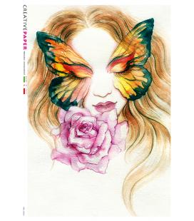 Carta di riso Decoupage: Occhi di farfalla con rosa