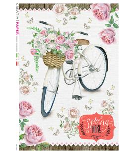 Carta di riso Decoupage: Bicicletta in primavera con rose