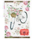 Decoupage rice paper: Bicycle in spring with roses
