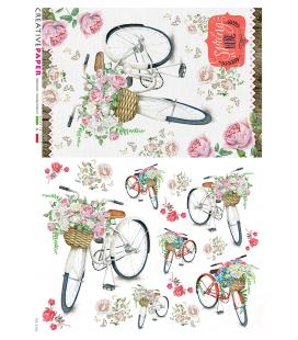 Carta di riso Decoupage: Biciclette in primavera con fiori