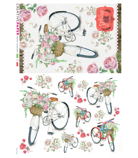 Decoupage rice paper: Bicycles in spring with flowers