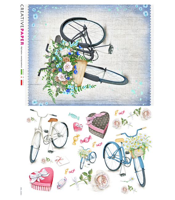 Decoupage rice paper: Bicycles in spring with flowers and candies