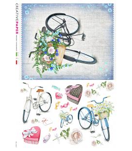 Carta di riso Decoupage: Biciclette in primavera con fiori e caramelle