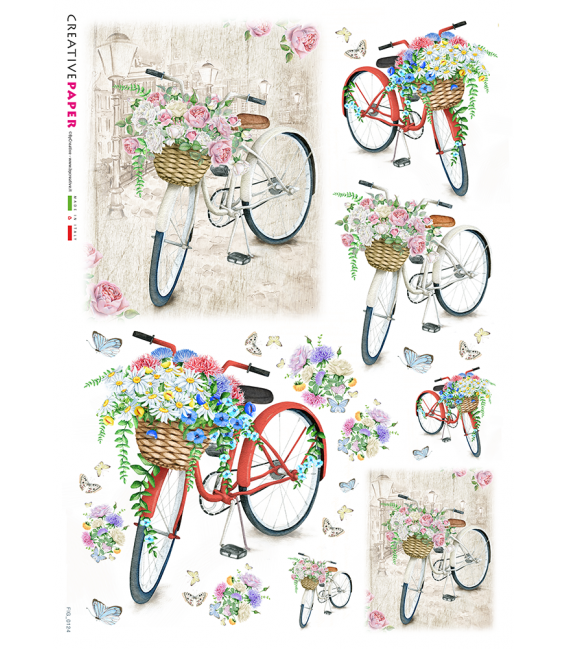 Decoupage rice paper: Bicycles in spring with flowers and butterflies