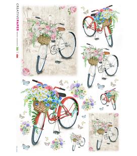 Carta di riso Decoupage: Biciclette in primavera con fiori e farfalle