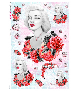Carta di riso Decoupage: Marilyn e rose rosse