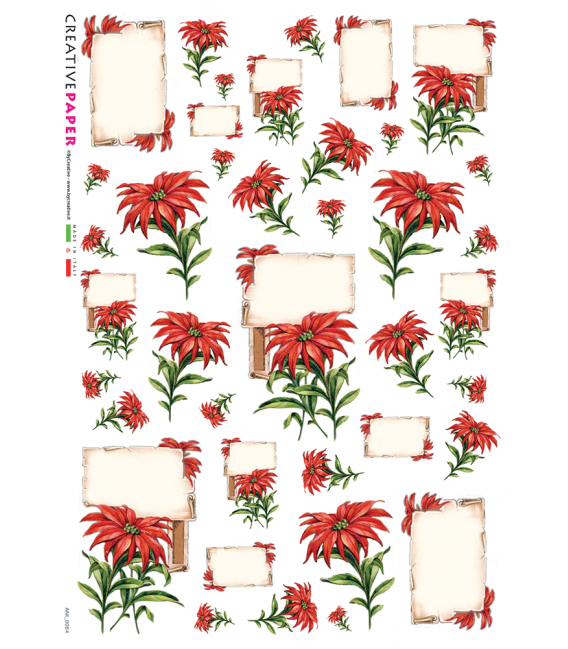 Decoupage rice paper: Poinsettias - Red Flowers