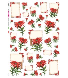 Carta di riso Decoupage: Stelle di Natale - Fiori rossi