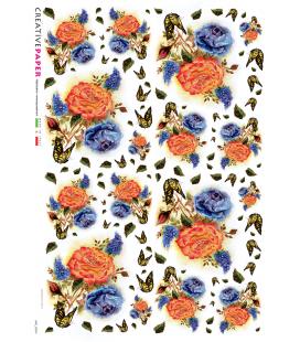 Carta di riso Decoupage: Rose arancioni e blu