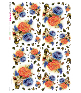 Decoupage rice paper: Orange and blue roses
