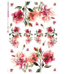 Carta di riso Decoupage: Rose Rosse - acquerello