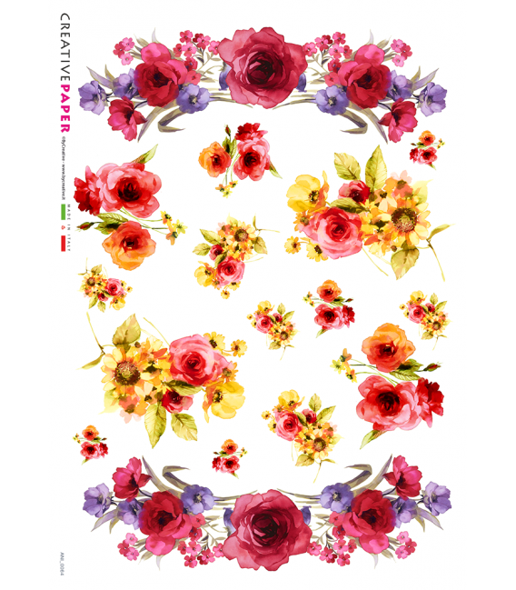 Decoupage rice paper: Red Roses and Daisies - watercolor