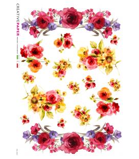Carta di riso Decoupage: Rose Rosse e Margherite - acquerello