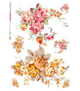 Carta di riso Decoupage: Bouquet di rose rosa e gialle